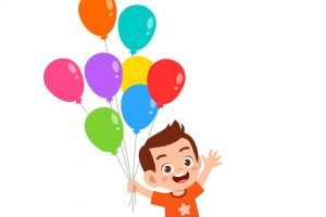 happy cute kid boy run holding balloon