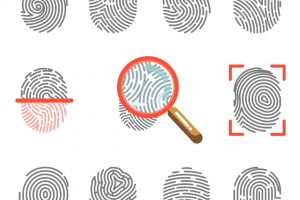 Fingerprints or fingertip prints identification scanner and biometric id magnifier. Security authorization and crime protection vector icons set