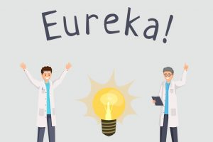Scientists discovery vector banner template. Happy researchers excitement with raised index finger, eureka gesture cartoon characters. Lab workers having new idea, making breakthrough