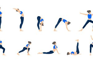 Set of girls in various poses of yoga. Woman yoga poses training. Different exercise. Vector illustration.